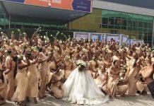 Sandra Ikeji set Record with 200 Bridesmaids on her Wedding Day