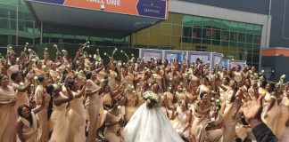 Sandra Ikeji set Record with 200 Bridesmaids on her Wedding Day